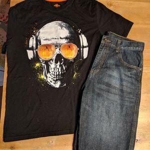 BUNDLE! Boys 14 16 XL denim shorts Halloween shirt